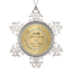 Diamonds & Gold 50th Wedding Anniversary Snowflake Pewter Christmas Ornament