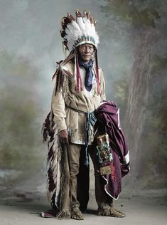 Shorpy Historical Photo Archive: Indian Porcupine.  Library of Congress. (Colorized Photo) 1905.