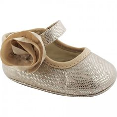 Baby Deer Champagne Swiss Dot Metallic Mary Jane Crawling Shoe with Flower Ornament and Hook & Loop Closure