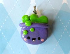Kawaii Halloween Pendant Chibi Cauldron Necklace Charm Cute Halloween Jewelry. $5.50, via Etsy.