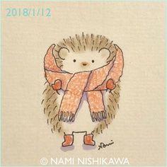 """1,580 Likes, 7 Comments - なみはりねずみ (@namiharinezumi) on Instagram: """"1380 寒いね It's cold. #illustration #hedgehog #イラスト #ハリネズミ #なみはりねずみ"""""""
