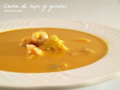Crema con rape y gambas (THX) Sandwiches, Thai Red Curry, Good Food, Food And Drink, Healthy Recipes, Cooking, Ethnic Recipes, Easy, Recipe Ideas