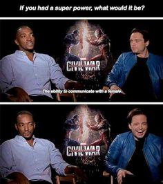 Captain America : Civil War interview - Anthony Mackie, Sebastian Stan #funny