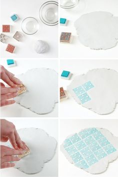 Make these Diy Stamped Clay Bowls from air dry clay