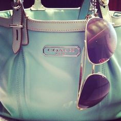 Mint green Coach purse & sunglasses are amazing for spring!