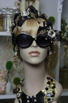 909  Fall 2016 Black Crystal Bow Baroque Embellished Fancy Shades Sunglasses Eye Wear
