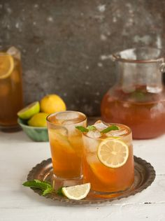 Iced tea with lemon, mint, and ginger