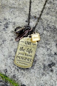 Mantra Live Live the life you have imagined Necklace with Mixed Metal charms