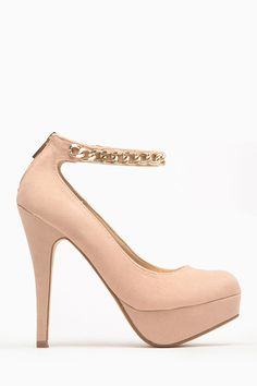 Add a touch of flash to your outfit when you slip into this lovely pair of pumps. They feature Nude velvet material, chain detailing on ankle strap, a hidden rear zipper, cushioned insoles and a platform. Wear gold accessories for a complimentary look.