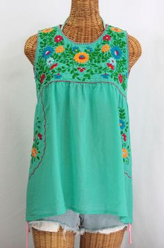 "Siren ""La Pasea"" Embroidered Mexican Style Peasant Top -Mint Green $52.95"