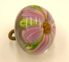 One Large Vintage Style Studio Japanese Paperweight Glass Button, Clematis