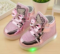 2016 Autumn New Brand Kids shoes Hook Loop LED Lighted Shoes Children Sneakers With Light Boys Girls Boots EU21-30 free shipping