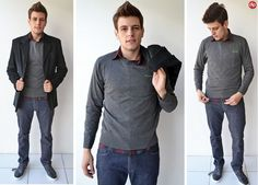 A opção de hoje é a combinação camisa + suéter.