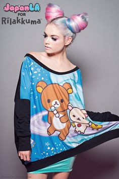 JapanLA Clothing presents: Rilakkuma in SPAAACE! Collection  Space Poncho Sweatshirt  Available May 30th at JapanLA and www.japanla.com