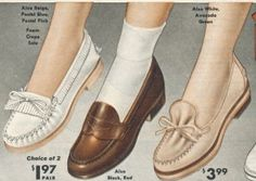 1955 Loafers and Mocs The most casual shoe for girls and women was the loafer. Moccasins fit into this category and were a staple in most young women's closets. Easy to slip on, casual enough to wear with bobby socks, and durable to last all year they were practically perfect.