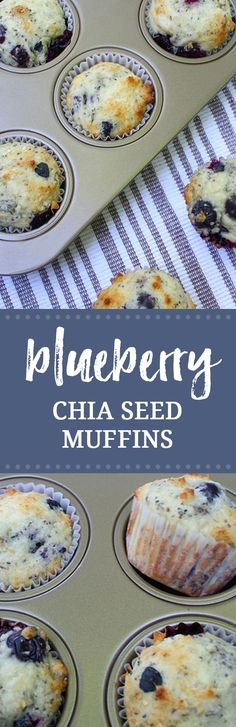 Make these light and fresh blueberry chia seed muffins for breakfast this weekend! These muffins are delicious, but not overly sweet.