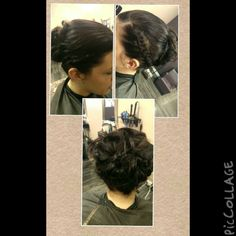 Braids on both sides into a bun..criss crossed braids under the bun