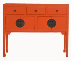 Double happiness indeed -- this persimmon coloured sideboard (Red Egg via Cottage Bungalow) comes in other fabulous shades, too!!!