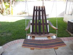 Items similar to Floating Wine Barrel Adirondack Chair - Swing on Etsy Wine Barrel Table, Wine Barrel Furniture, Crate And Barrel, Chair Swing, Hammock Swing, Swinging Chair, Wine Rack Wall, Wine Racks, Barrel Projects
