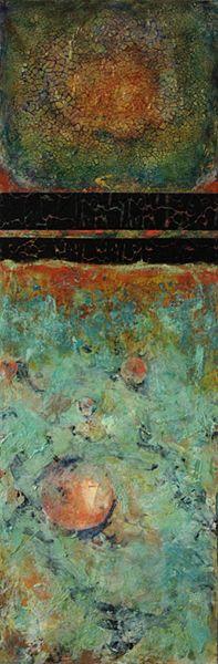 "Mixed Media Artists International: Tall Mixed Media Abstract Painting ""Inner Glow"" by Santa Fe Contemporary Artist Sandra Duran Wilson"