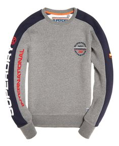 Shop Superdry Mens Trophy Tri Colour Sweatshirt in Dark Trophy Grey Marl. Sweater Fashion, Men Sweater, Mens Jogger Pants, Mens Sweatshirts, Men's Hoodies, Adidas Outfit, Sharp Dressed Man, Mens Fashion Suits, Polo T Shirts