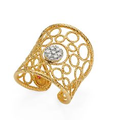 Bollicine ring in 18k yellow gold and diamonds.  By Roberto Coin.