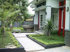 Desain Teras Rumah Minimalis Dengan Taman Hijau Minimalis