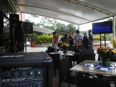 Apoyo a nuestros clientes en desayuno corporativo, Turismo Maso Internacional, alquiler de equipos de video y sonido.