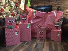 Reindeer gift wrapped tower. Christmas 2018.
