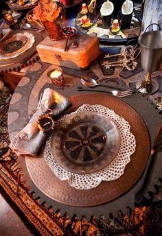 Adorable Steampunk Wedding Table Settings    www.MadamPaloozaEmporium.com www.facebook.com/MadamPalooza