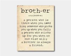 Family Wall Art - A brother is a person - Brother Quote ...