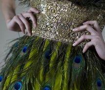 dress, fashion, gold, green, peacock, photography