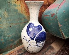 1970s Stoneware Art Studio Pottery Weed Pot Blue Insect or Hummingbird Design, Ceramic Vase 90 Day Plan, Hacienda Style, Pottery Vase, Ceramic Vase, Hummingbird, Stoneware, 1970s, Insects, Etsy Seller