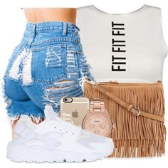 shawty just doing what she do  by mindlesspolyvore on Polyvore featuring NIKE, Rebecca Minkoff, FOSSIL and Casetify