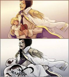 """""""In my arms for the last time"""" Sengoku and Donquixote Rocinante (Corazon) (Corasan, Cora-san) One Piece"""