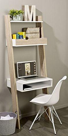 SoBuy® FRG111-WN Étagère de Rangement Bibliothèque avec bureau cubique et 2 étagères– L65xP40xH179cm