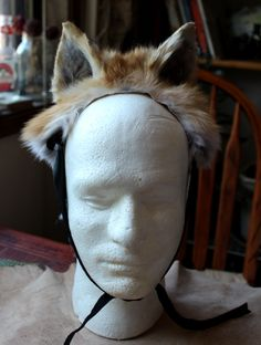 Red fox taxidermy costume ears by Lupa. At http://thegreenwolf.etsy.com