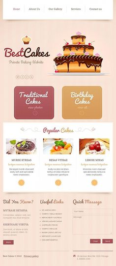 Facebook HTML CMS #template // Regular price: $59 // Unique price: $8500 // #Food #Drink #Facebook #HTML #CMS #cakes #bakery