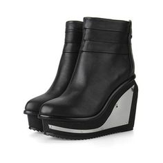 Metal Decoration Shape Heeled Lether Boots ($174) ❤ liked on Polyvore featuring shoes, boots, wedges, black shoes, metal boots, black wedge boots, black boots, wedge sole boots and wedge heel shoes