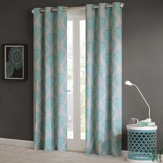 Shop for Intelligent Design Sydney Damask Printed Grommet Top Window Curtain Panel Pair. Get free delivery On EVERYTHING* Overstock - Your Online Home Decor Outlet Store! Get in rewards with Club O! Thermal Curtains, Grommet Curtains, Drapes Curtains, Coastal Curtains, Modern Curtains, Bedroom Curtains, Color Menta, Yellow Curtains, Curtain Styles