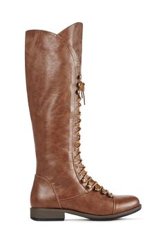 Lace into Lorana by JustFab this season. She's a tall, flat boot with speed lacing at the top and the toe.