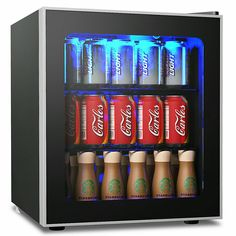 Buy COSTWAY Beverage Refrigerator and Cooler, 60 Can Mini Fridge, Adjustable Removable Shelves, Perfect for Soda Beer or Wine Small Drink Dispenser Machine for Office or Bar x x Man Cave Beer Fridge, Jorge Alvarado, Drinks Fridge, Cool Mini Fridge, Freestanding Fridge, Interior Led Lights, Beverage Refrigerator, Soda Drink, Blue Led Lights