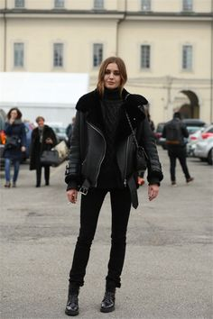 Nadja Bender looking fab in an #acnevelocite jacket during #mfw feb 2015