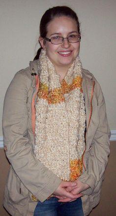Cream and Orange Crocheted Scarf