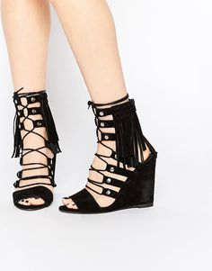 Super fede Free People Solstice Black Ghillie Wedge Sandals - Black Free People Sko til Damer til hverdag og fest