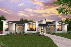 One Story Modern House Design House Architecture - Modern Small Modern House Plans, Midcentury Modern House Plans, Modern Bungalow House Plans, Best Modern House Design, Coastal House Plans, Prairie House, Modern Ranch, Modern Exterior, Contemporary Home Exteriors
