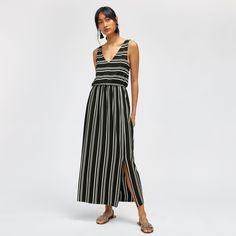 Warehouse, STRIPE V NECK MAXI DRESS Black Stripe 2