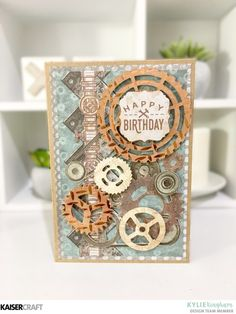 'Happy Birthday' Card by Kylie Kingham Design Team member for Kaisercraft Official Blog using August 2017 New 'Factory 42' collection. Learn more at kaisercraft.com.au/blog - Wendy Schultz - Cards 1.