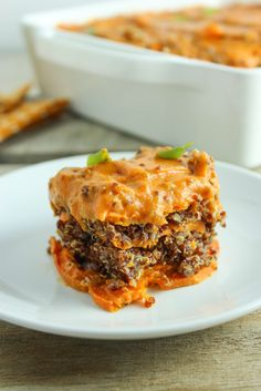 This sweet potato casserole recipe is a spicy modern take on a beloved classic. It's layered with quinoa and topped with a creamy, chipotle blender sauce.