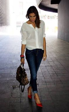 White Shirt - Blue Jeans - classic combo updated with red heels